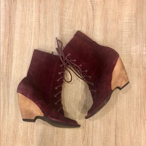 Restricted velvet wine lace up booties. Size 8